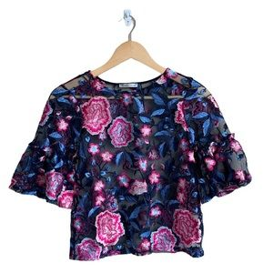Zara Floral Embroidered Blouse Small
